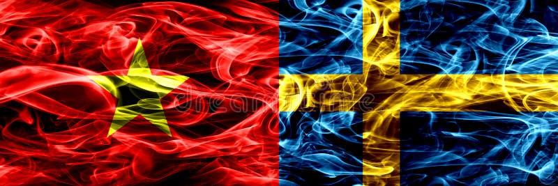 越南社会主义共和国对瑞典,肩并肩被安置的瑞典烟旗子 越南的厚实的色的柔滑的烟旗子和 库存照片