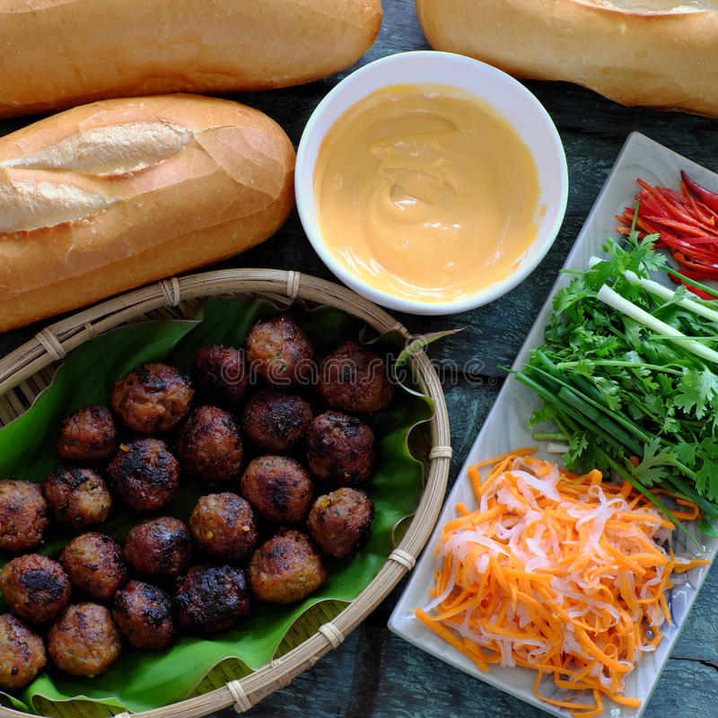 越南街道食物, banh mi thit nuong 免版税库存照片