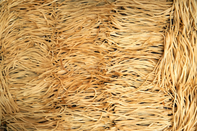 越南语dryed面条顶视图 太阳在会安市dryed著名饭食的米线- mi quang和cao lau 免版税图库摄影