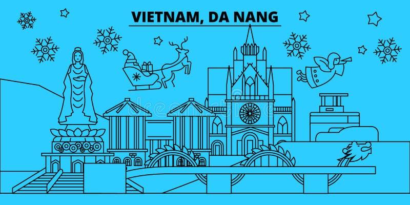 越南,岘港寒假地平线 圣诞快乐,新年快乐装饰了与圣诞老人的横幅 越南,Da 库存例证