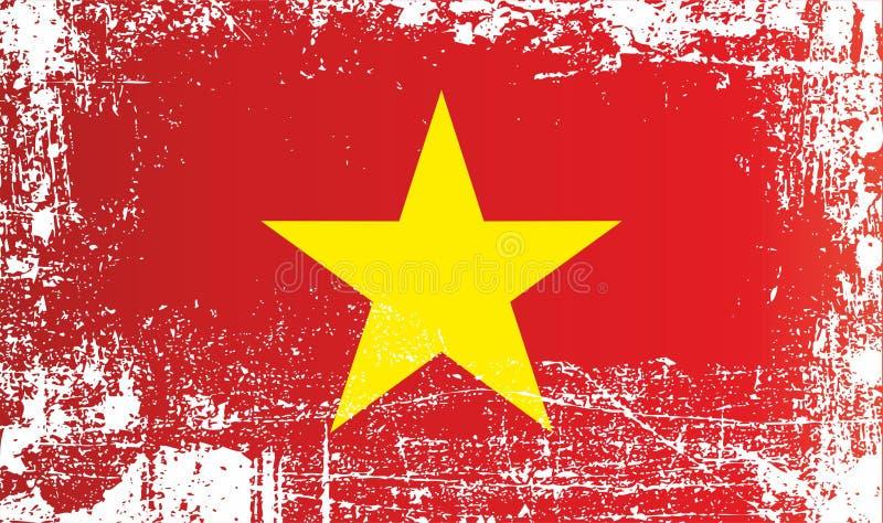 越南,越南社会主义共和国,起皱纹的肮脏的斑点的旗子 向量例证