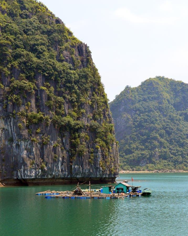 越南-下龙湾-小渔场 图库摄影