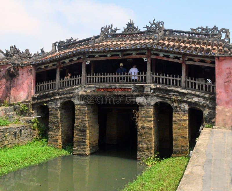 越南- Hoi目的地的关闭风景日本被遮盖的桥 免版税库存照片