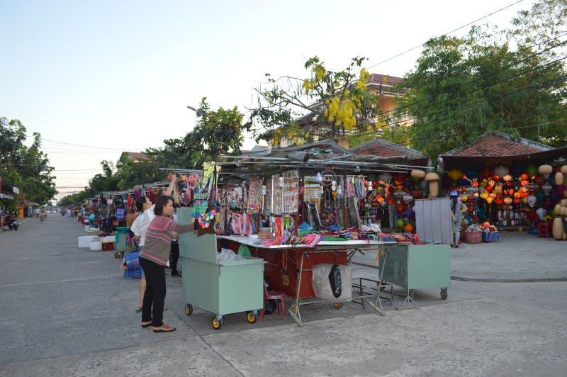 越南- Hoi风景会安市夜市场 免版税库存照片