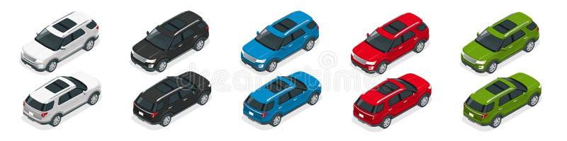 越野写汽车 现代VIP运输 平的3d等量传染媒介例证 对infographics和设计比赛 库存例证