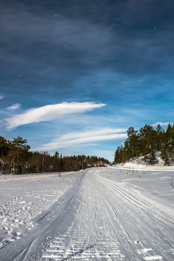 越野滑雪道路,Gautefall,挪威 免版税图库摄影