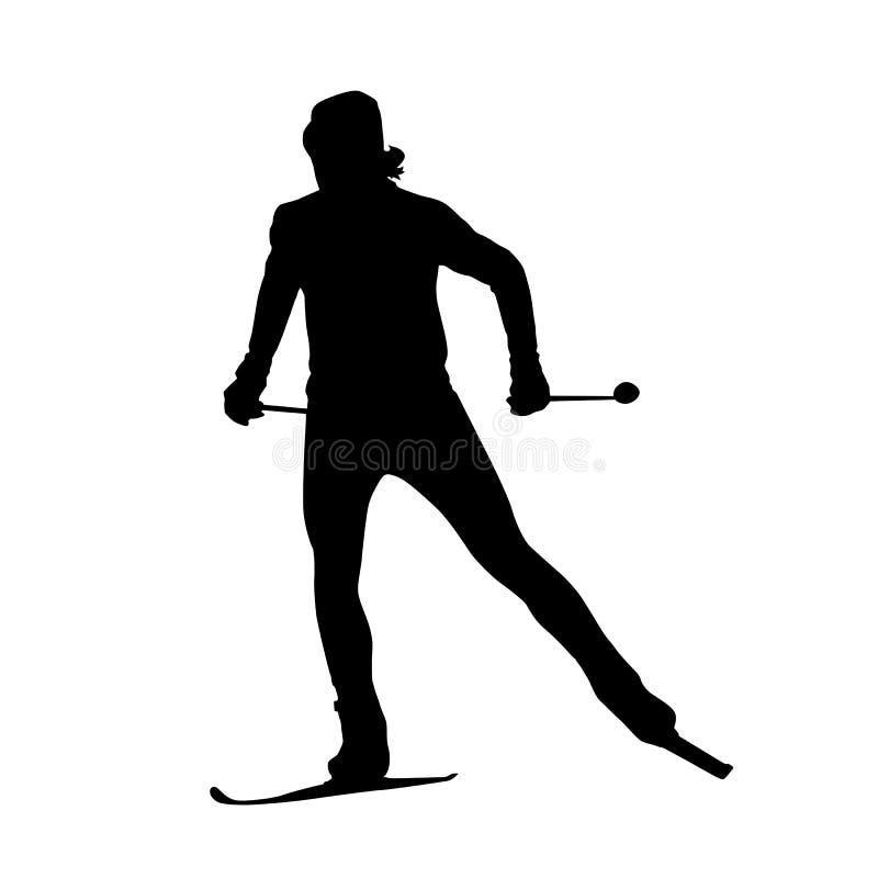 越野滑雪传染媒介剪影 皇族释放例证