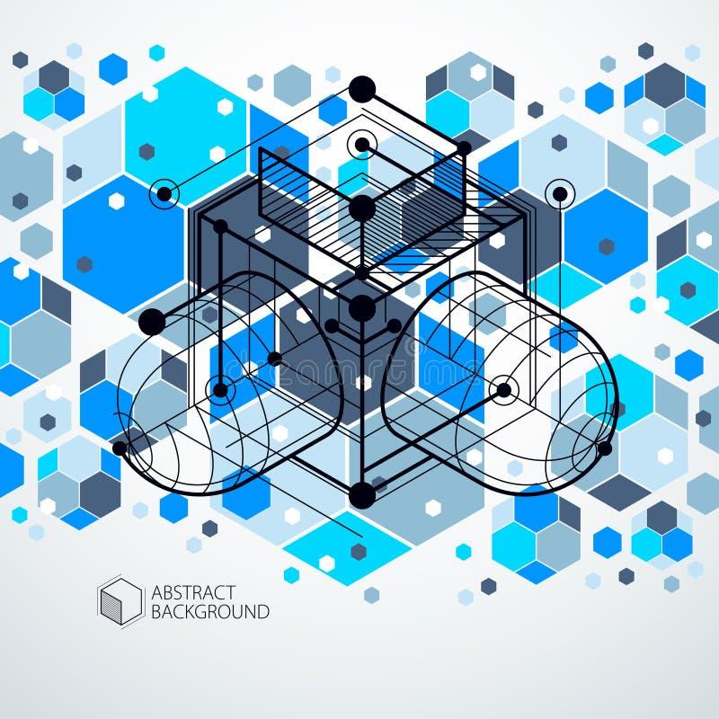 趋向等量几何与明亮的块和立方体的样式蓝色背景 技术计划可以用于网络设计和  皇族释放例证