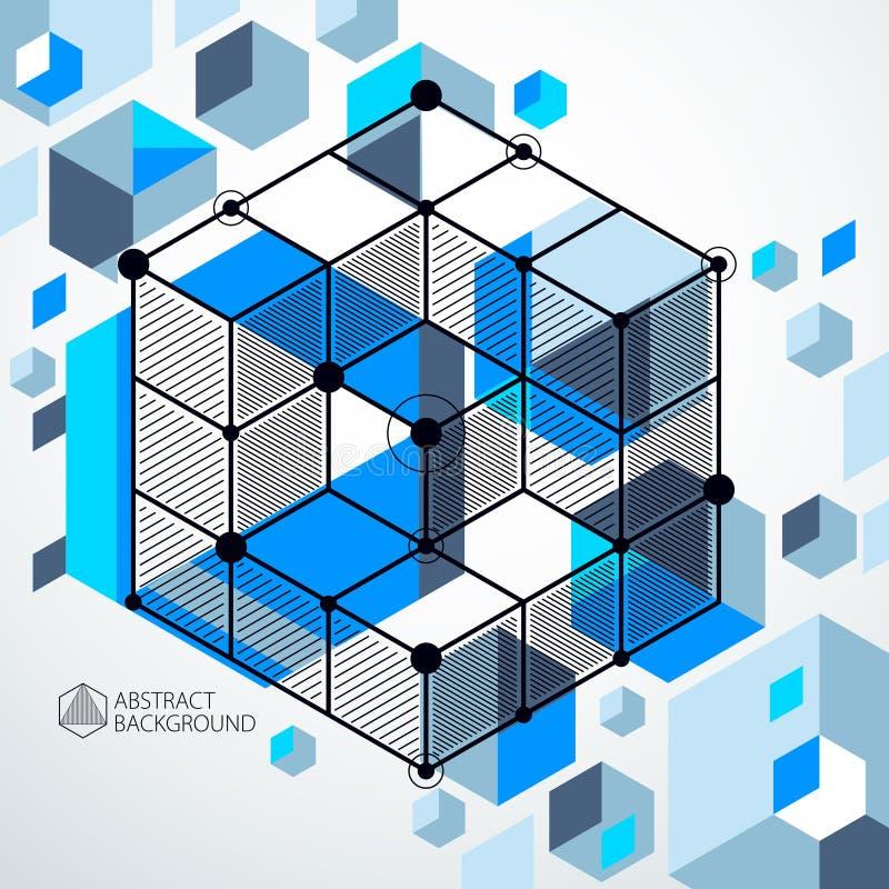 趋向等量几何与明亮的块和立方体的样式蓝色背景 技术计划可以用于网络设计和  向量例证