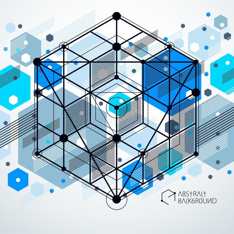 趋向等量几何与明亮的块和立方体的样式蓝色背景 技术计划可以用于网络设计和  库存例证