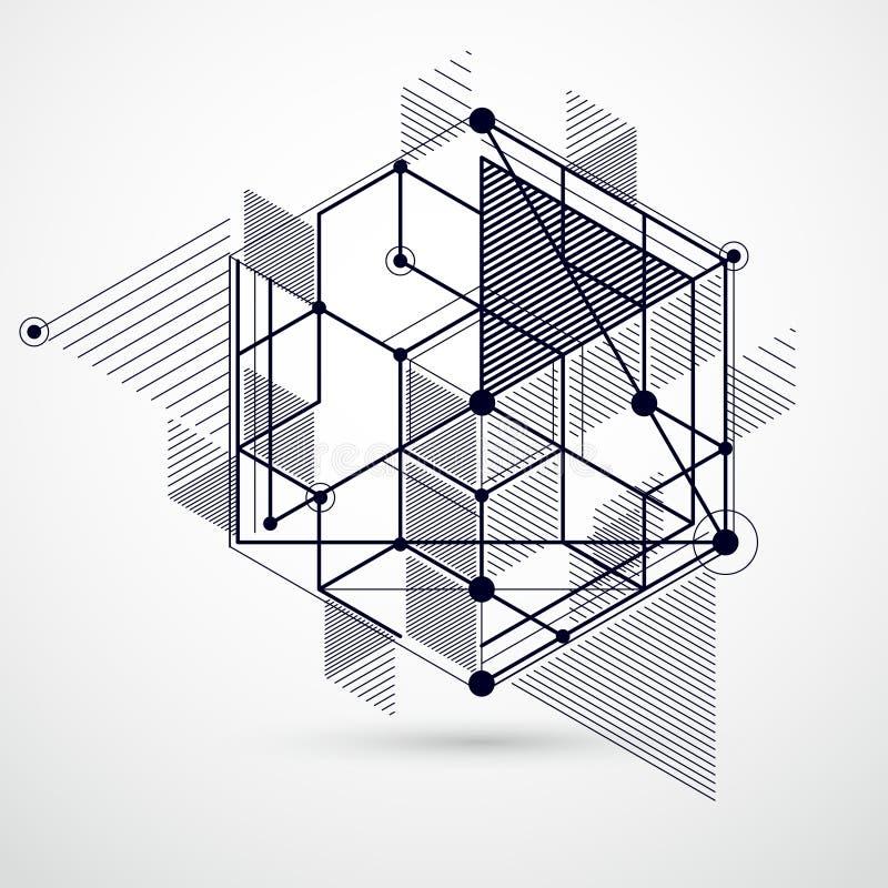 趋向等量几何与明亮的块和立方体的样式黑白背景 技术计划可以用于网 皇族释放例证