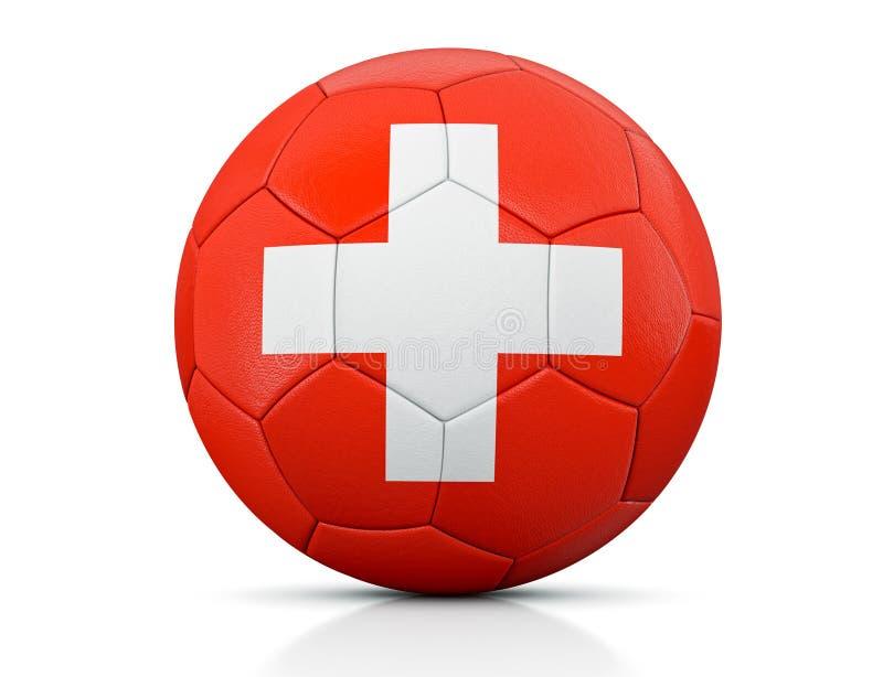 足球、经典足球绘与瑞士的旗子的颜色和明显的皮革纹理在演播室,3D不适 向量例证