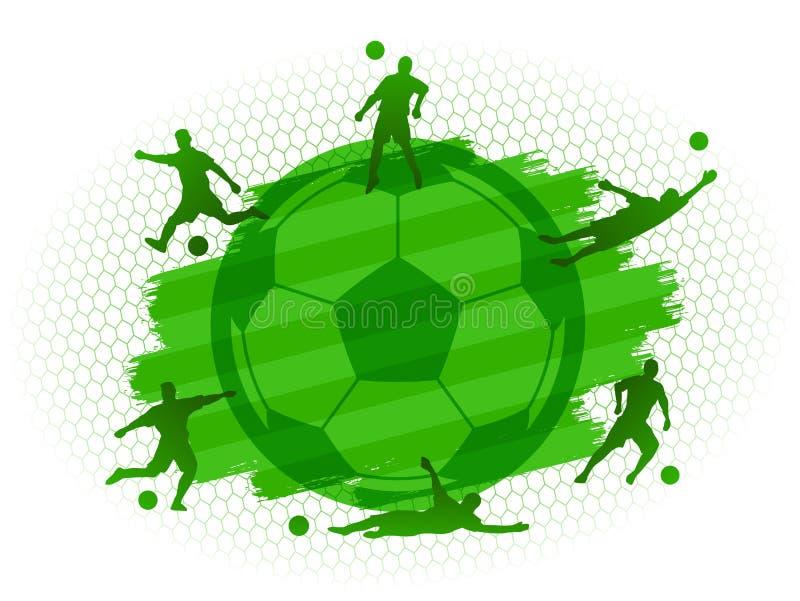 足球与球员剪影的橄榄球场领域在绿草平的背景设置了 库存例证