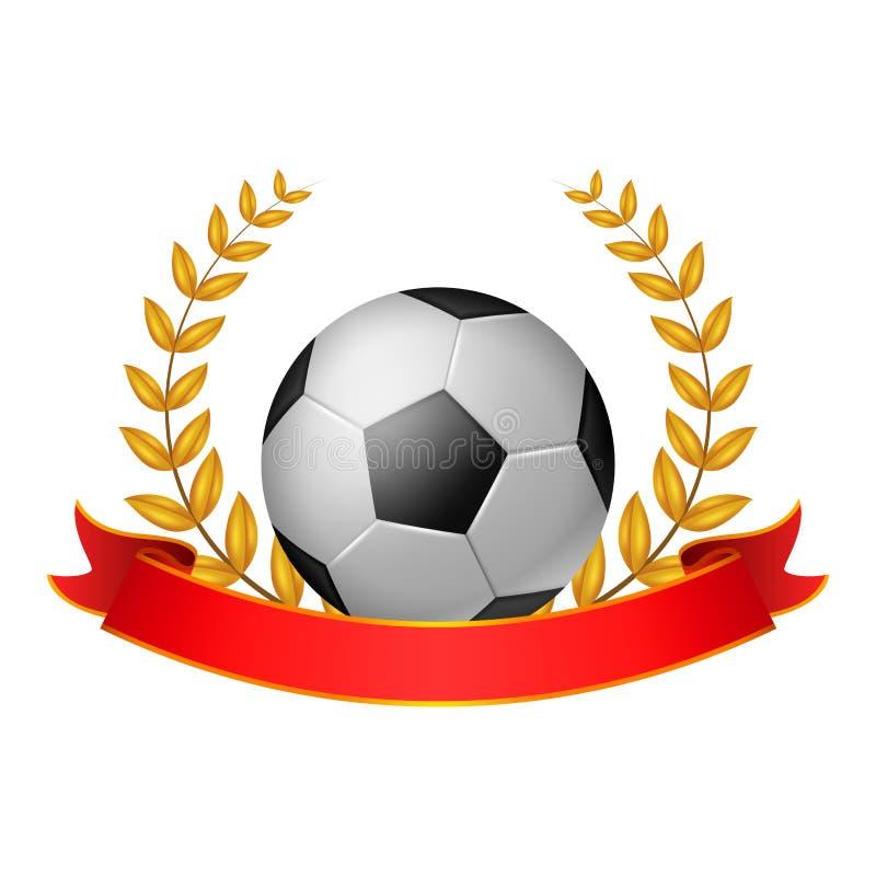 足球与红色丝带的月桂树花圈 皇族释放例证