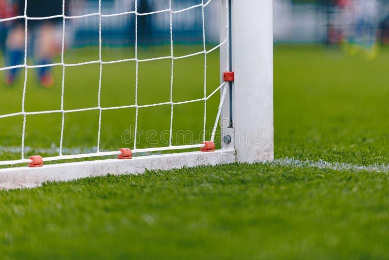 足球与网的橄榄球目标 与新鲜的绿草的橄榄球球场领域 免版税库存照片