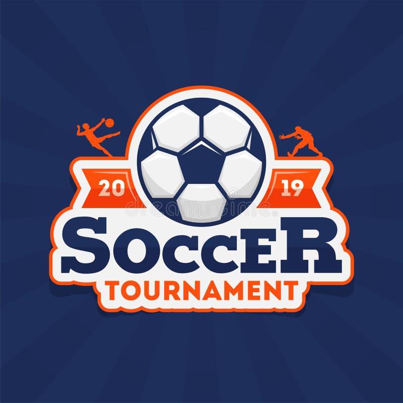 足球与足球的比赛2019文本在蓝色光芒背景的贴纸样式 库存例证