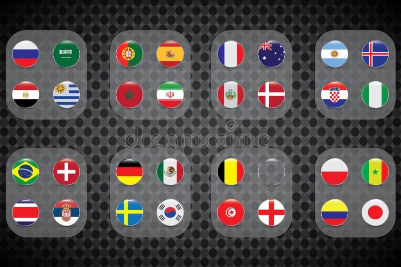 足球世界杯 图解图画旗子, 32个参加者 库存例证