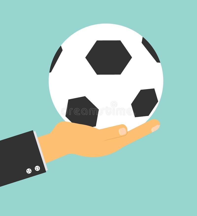 足球举行在背景,传染媒介例证的经理手橄榄球 皇族释放例证