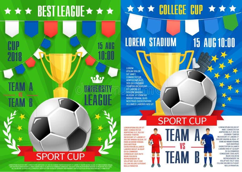 足球体育橄榄球赛的传染媒介海报 皇族释放例证