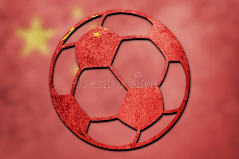 足球全国中国旗子 脊椎橄榄球球 免版税库存照片