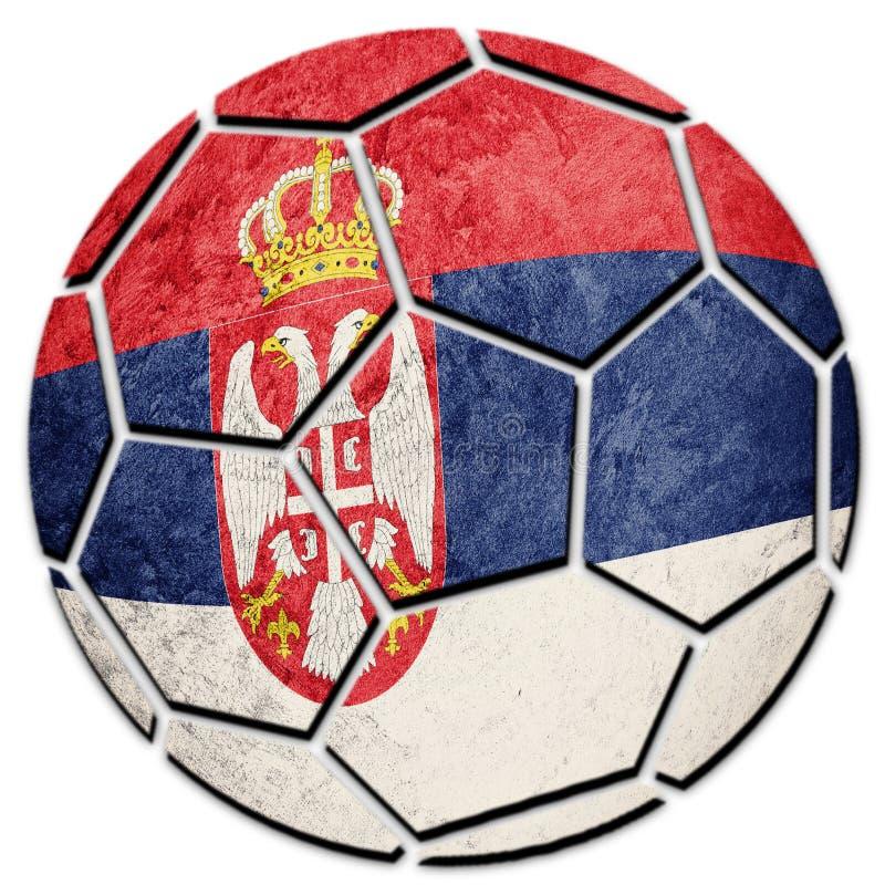 足球全国塞尔维亚旗子 塞尔维亚橄榄球球 库存照片