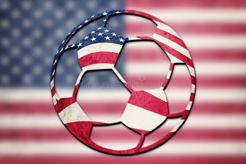 足球全国美国旗子 阿美利坚鲍尔橄榄球 免版税库存照片