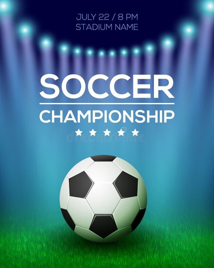 足球冠军海报设计 库存例证