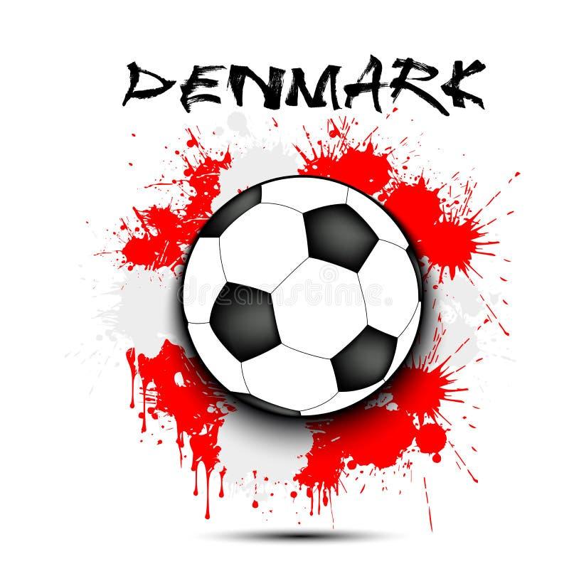 足球和丹麦旗子 库存例证