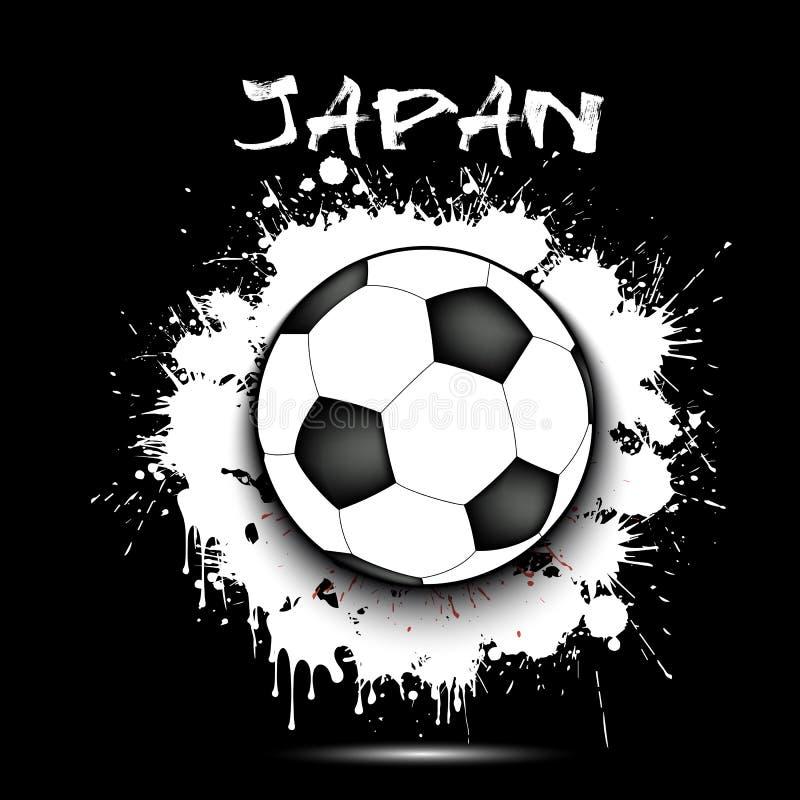 足球和日本旗子 皇族释放例证