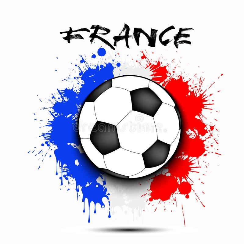 足球和法国旗子 库存例证