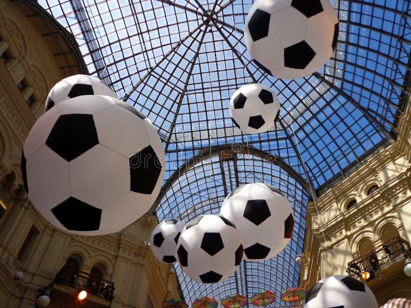 足球和玻璃屋顶 库存照片
