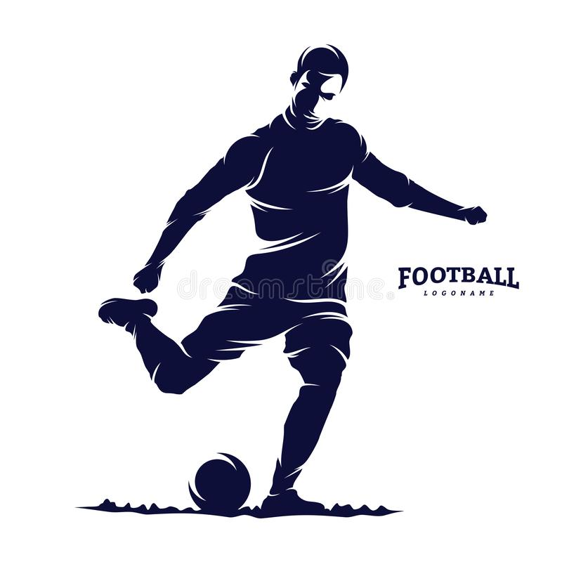 足球和足球选手人商标传染媒介 剪影 向量例证