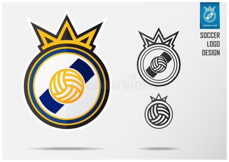 足球商标或橄榄球徽章模板设计足球队的 体育金黄冠和蓝色条纹象征设计在盾 向量例证