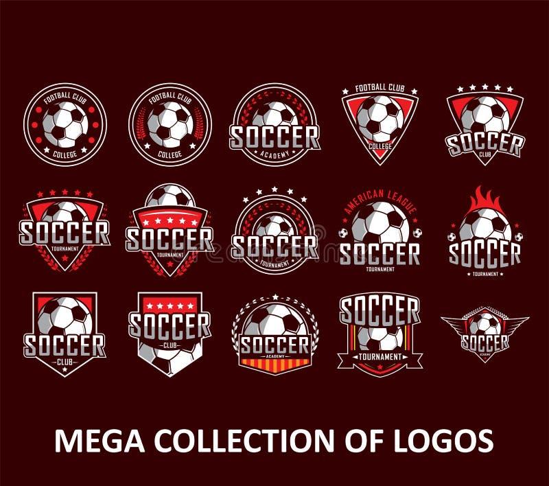 足球商标 美国商标,经典商标 设置您的事务的20枚足球徽章 您的团体性运动的现代设计模板 库存例证