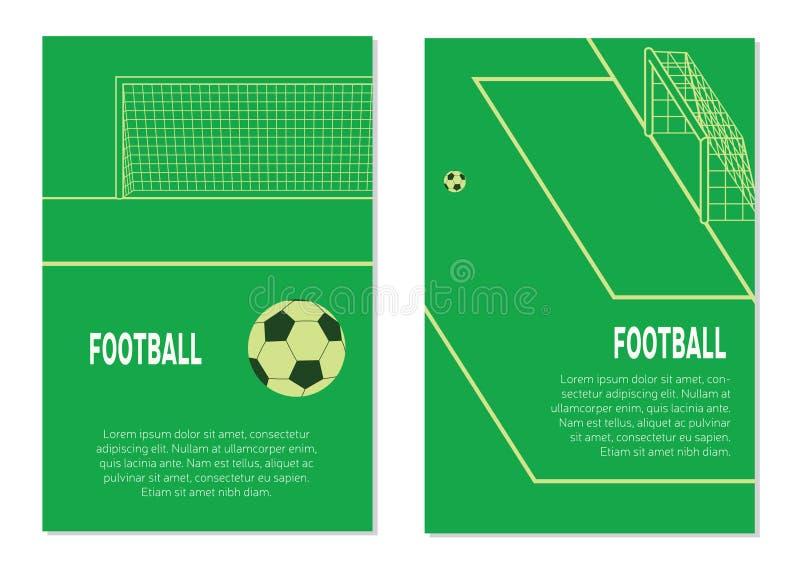 足球在惩罚斑点的橄榄球球在体育场 库存例证