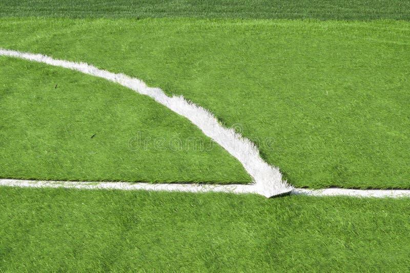 足球场改良了人工草 免版税库存照片