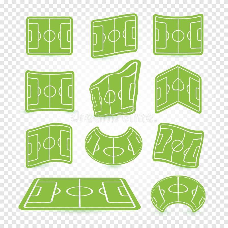 足球场标号商标设置了,空的体育场象,绿草汇集,橄榄球草坪,网比赛图表元素 皇族释放例证