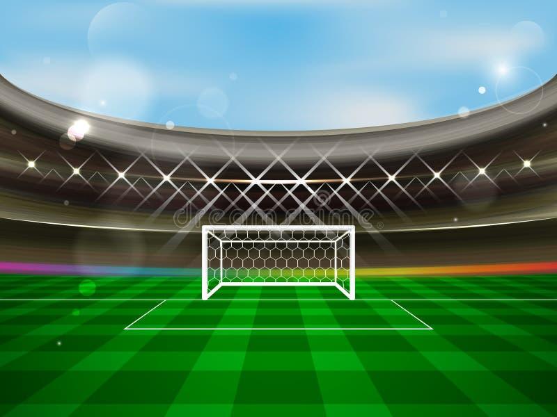 足球场横幅 有聚光灯、论坛、足球目标网和绿草的橄榄球竞技场 向量例证