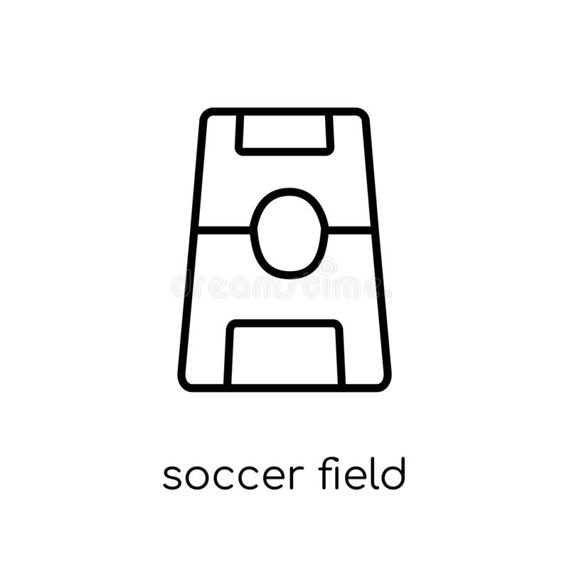 足球场象 时髦现代平的线性传染媒介足球场 库存例证