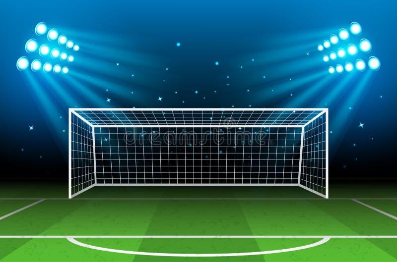 足球场,竞技场在夜照亮了明亮的聚光灯 皇族释放例证