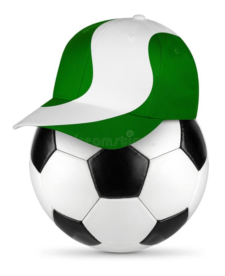 足球尼日利亚棒球帽 免版税库存图片