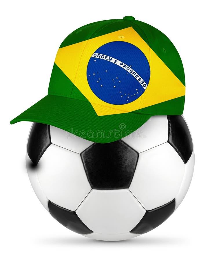 足球巴西棒球帽 免版税库存照片