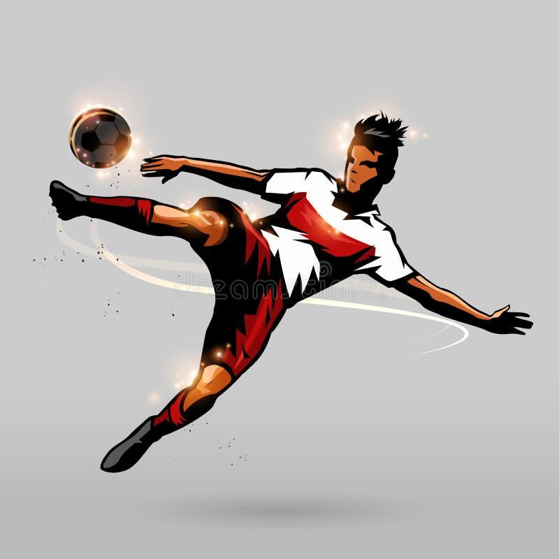 足球快的射击的球 向量例证