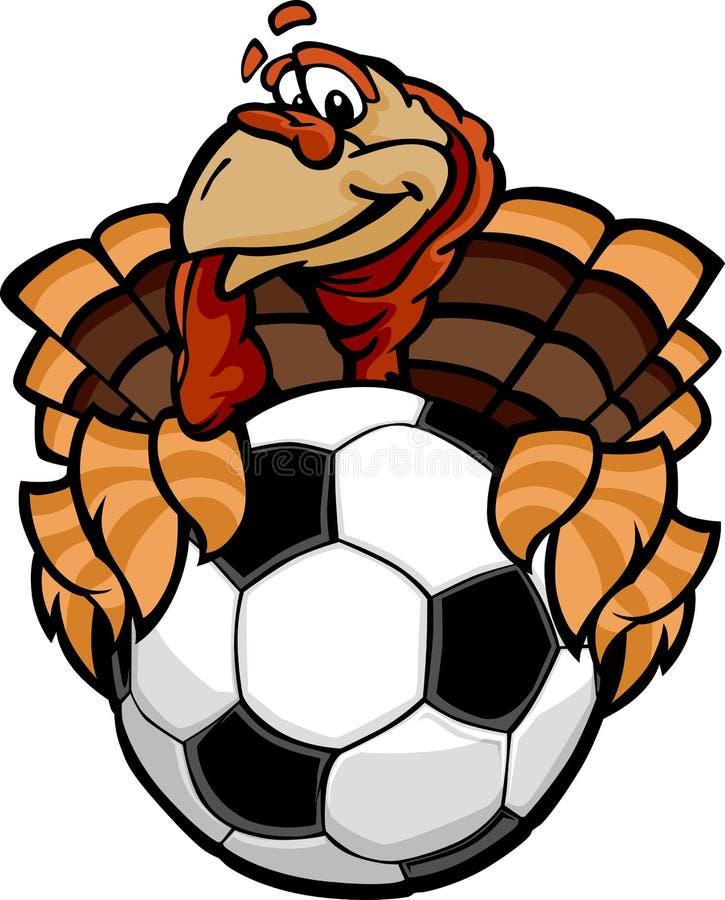 足球感恩节愉快的土耳其动画片 库存图片