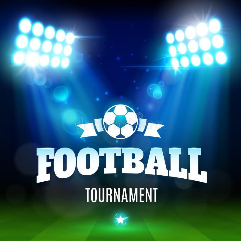 足球或与球,光的橄榄球场领域 皇族释放例证