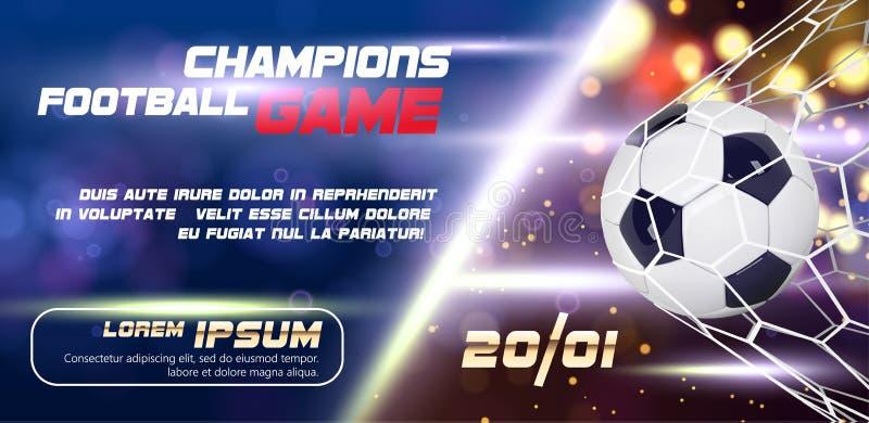 足球或与3d球的橄榄球宽横幅或者飞行物设计在金黄蓝色背景 橄榄球赛比赛目标片刻 向量例证