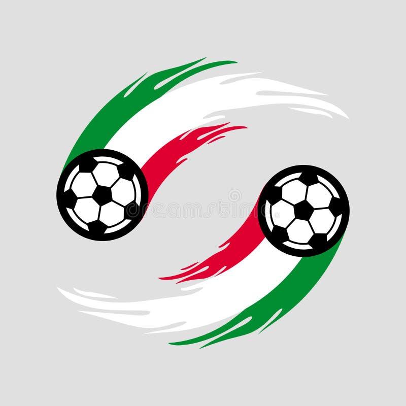 足球或橄榄球与火尾巴在意大利旗子 皇族释放例证