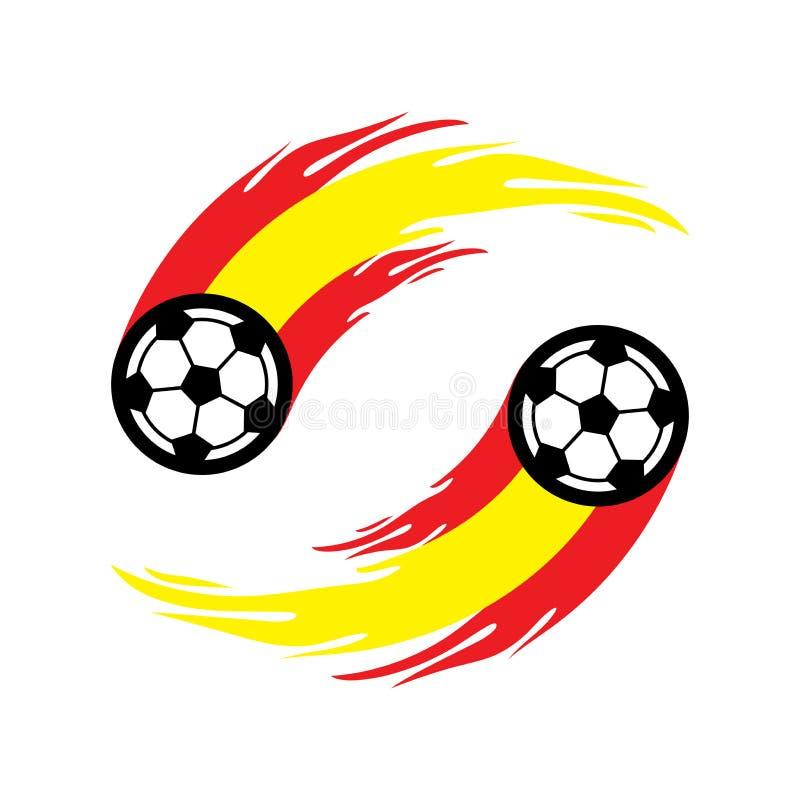 足球或橄榄球与火尾巴在西班牙旗子 库存例证