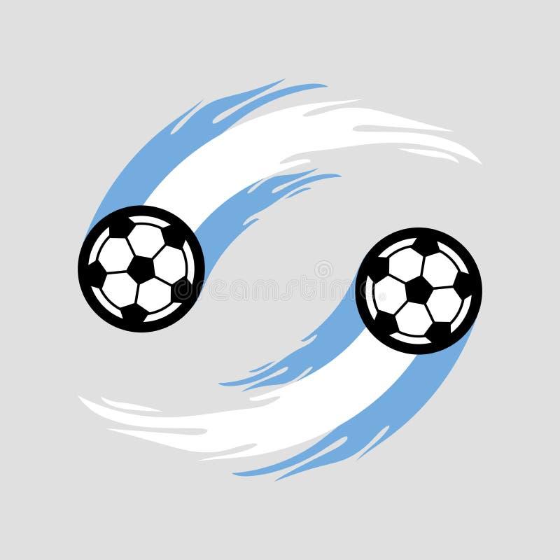 足球或橄榄球与火尾巴在阿根廷旗子 库存例证