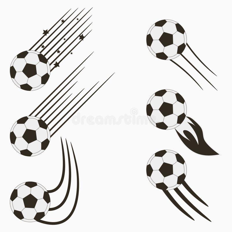 足球或欧洲橄榄球腾空球设置了与速度行动足迹 体育商标的图形设计 向量 向量例证